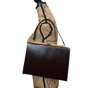 Normandie Vintage Brown Leather Frame Satchel